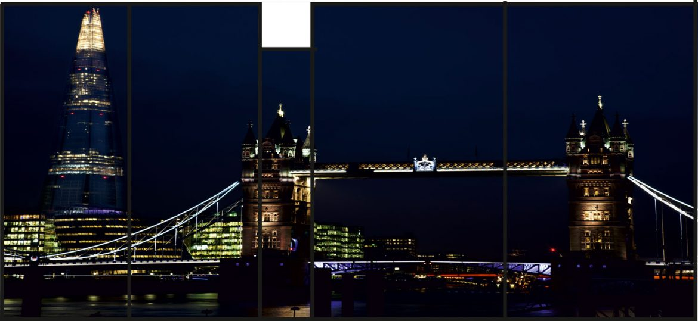 Colaj print sticla securizata JPG cu imagine London Tower Bridge si monumentul The Shard 1