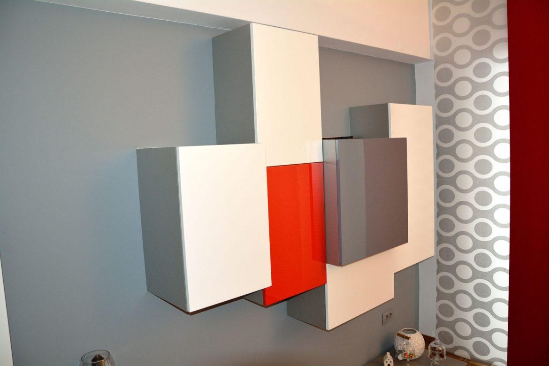 Corp mobilier pentru living din pal cu usi din MDF vopsit cu interior din aluminiu periat F501ST2