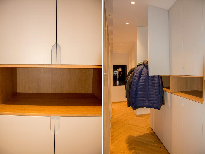 Detali sistem lift de haine cu amortizare VIBO cu fronturi din MDF vopsit gri casmir NCS s 1502 g50Y cu frezare maner 1