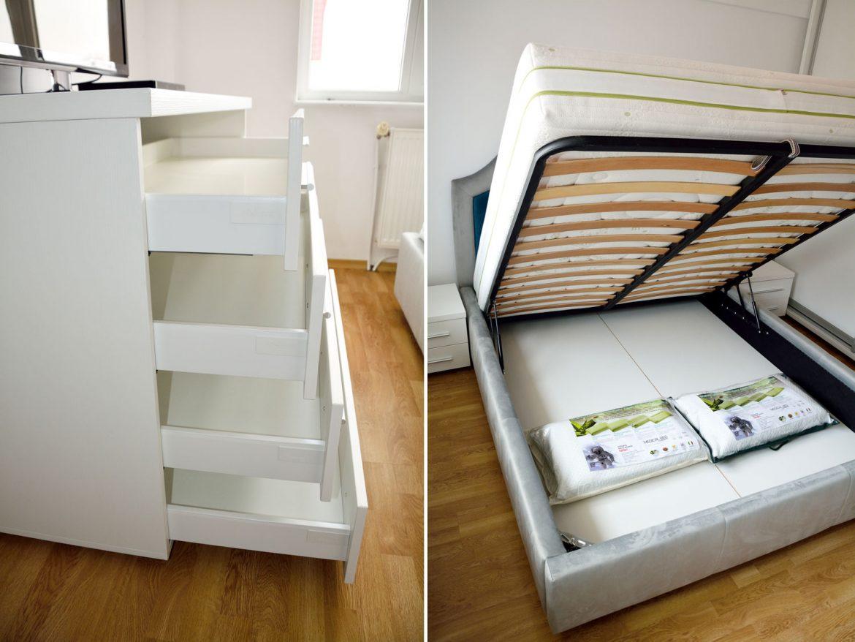 Detaliu dormitor matrimonila la comanda cu comoda moderna din pal alb fibros cu 4 sertare cu amortizare Antaro Blum pat tapitat integral cu lada depozitare diverse