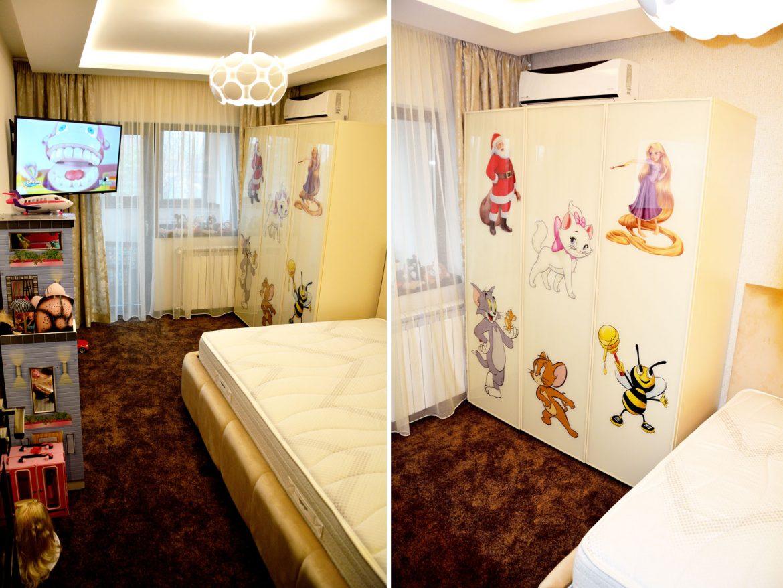 Dormitor copii la comanda cu pat tapitat lada depozitare cu somiera rabatabila si dulap pal crem de 18 mm cu dimensiuni de 1900x1500x550 mm
