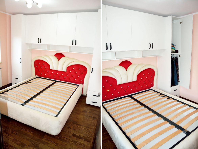 Dormitor la comanda Yulmob Bacau din pal alb fibra cu manere negre vopsite balamale silentioase Blum si Pat tapitat Queen cu somiera rabatabila