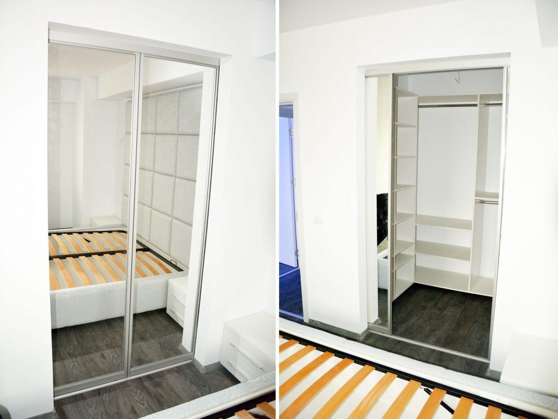 Dressing pentru dormitor la comanda din pal alb de 18 mm cu ABS de 2 mm usi din profil rama aluminiu oglinda cu folie protectoare si pistoane cu amortizare