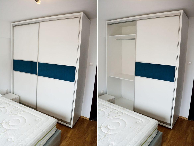 Dulap dormitor modern din pal alb fibros de 36 mm cu interior de 18 mm usi culisante profil aluminiu cu pistoane cu amortizare bara depozitare banda pe mijloc din tesut material Prestige 2772