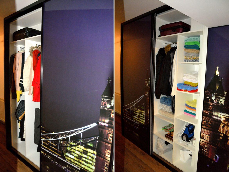 Dulap tip dressing atent compartimentat cu interior pal alb de 18 mm cant ABS de 2mm usi profil rama aluminiu vopsit negru RAL 9005 cu sticla securizata JPG London Tower Bridge