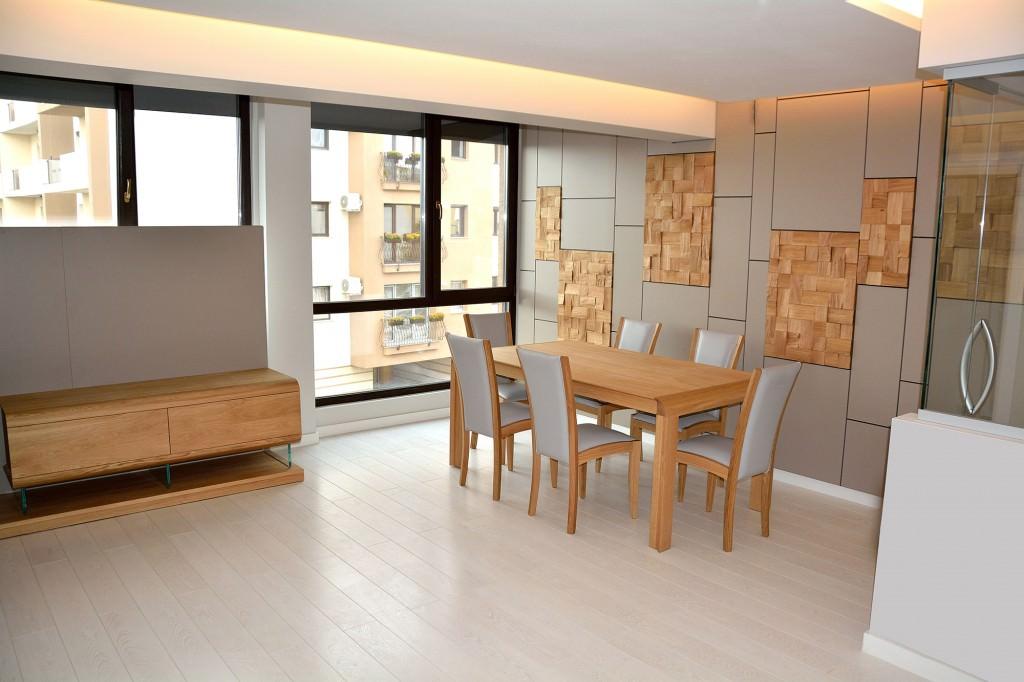 Living complet modern accesorizat cu biblioteca din lemn masivmasa scaune si comoda atat cu placari formate din placi intregi de Mdf vopsit mat Gri 1024x682 1