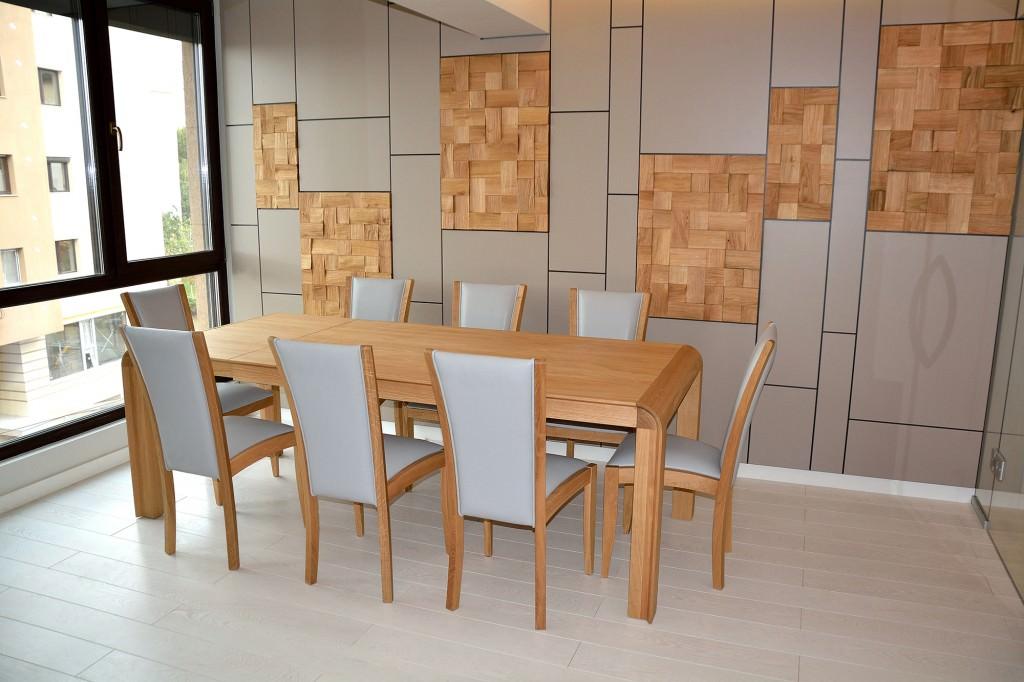 Masa moderna living accesorizata cu 8 scaune din lemn masiv tapitate in piele naturala Gri cu placare din mdf Vopsit Gri cu lemn masiv stejar 1024x682 1