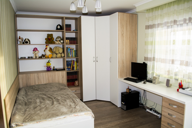 Mobila Camera Copii din Pal Stejar Bardolino Gri cu Alb Creta