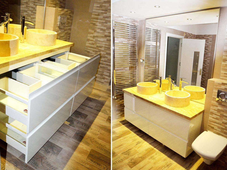Mobilier baie la comanda cu usi din MDF vopsit RAL 9003 alb lucios cu frezare manere blat granit sertare cu amortizare Blum