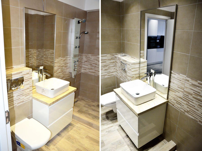 Mobilier baie la comanda din MDF vopsit RAL 9003 alb lucios cu sertare silentioase Blum oglinda cu rama inox blat granit 1