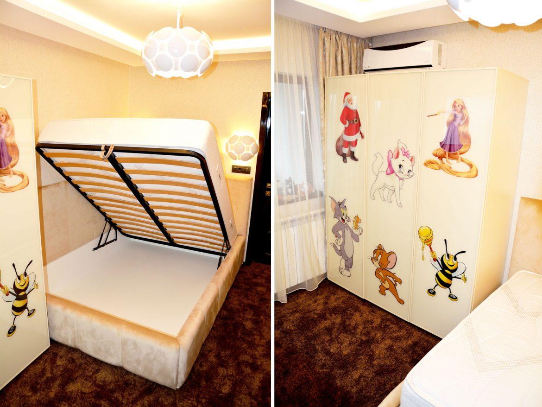 Mobilier dormitor la comanda Yulmob dulap din pal crem de 18 mm cu dimensiuni de 1900x1500x550 mm pat tapitat la copmanda Cannes cu lada depozitare si somiera rabatabila