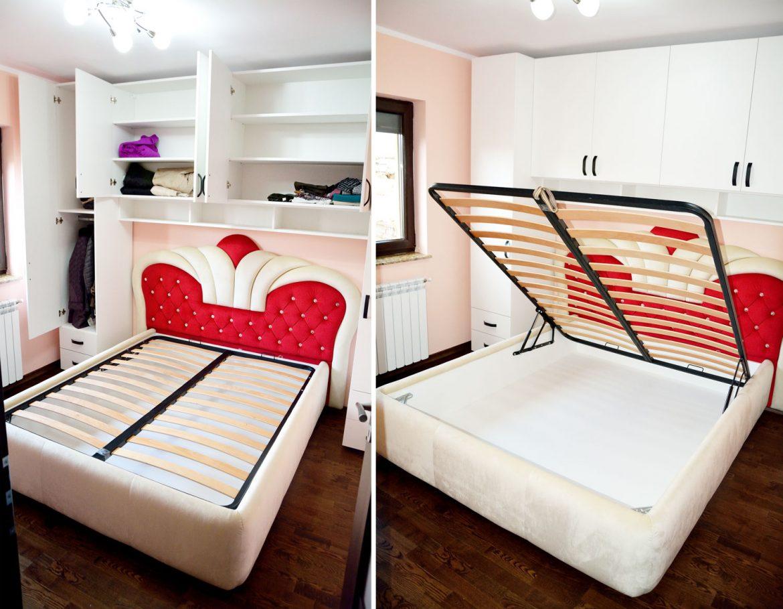 Mobilier la comanda pentru dormitor din pal alb fibra balamale silentioase Blum pat tapitat Queen