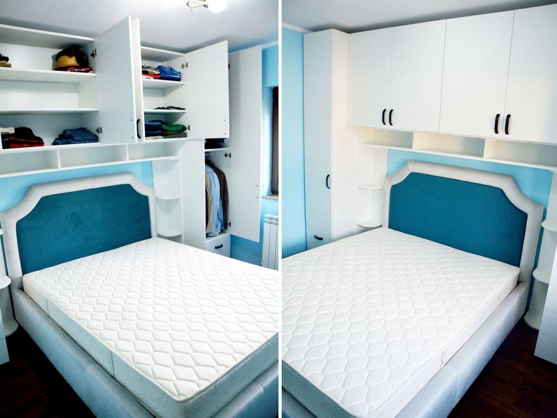 Mobilier la comanda pentru dormitor din pal alb fibra balamale silentioase Blumotion pat tapitat Palermo