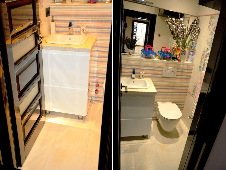 Mobilier pentru baie cu usi din MDF vopsit lucios alb RAL 9003 cu frezare manere sertare silentioase Antaro Blum inaltatoare sertar si blat granit