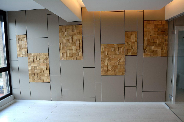 Placare moderne pe perete cu un design deosebit realizat din Mdf Vopsit LMat Gri cu 6 placi din Lemn Stejar Masiv Natur