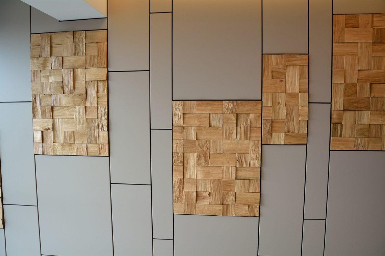Placare perete completa moderna realizata pe comanda Yulmob din Mdf Vopsit Mat Gri in combinatie cu Lemn Stejar Masiv