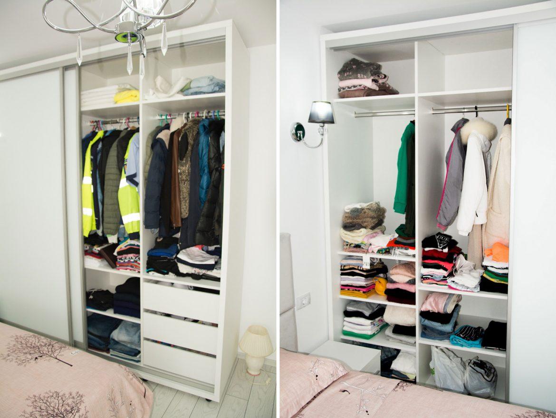 detali interior dressing cu usi glisante compartimentat cu raturi mobile si bara de haine 1