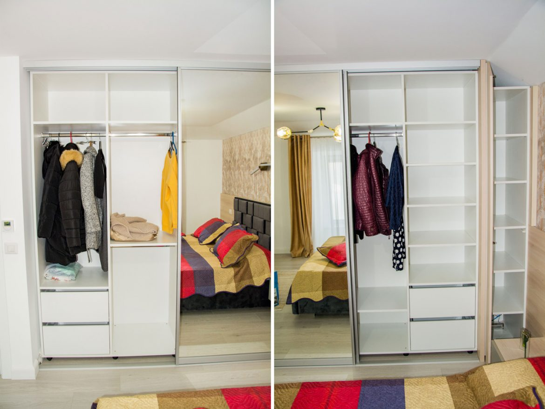 detali interior dulap din pal cu rafturi mobile si bara pentru umerase 1