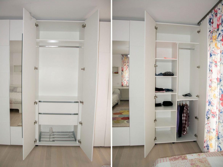 interior dresing din pal alb perlat w1000 cu sertare silentioase si polite mobile