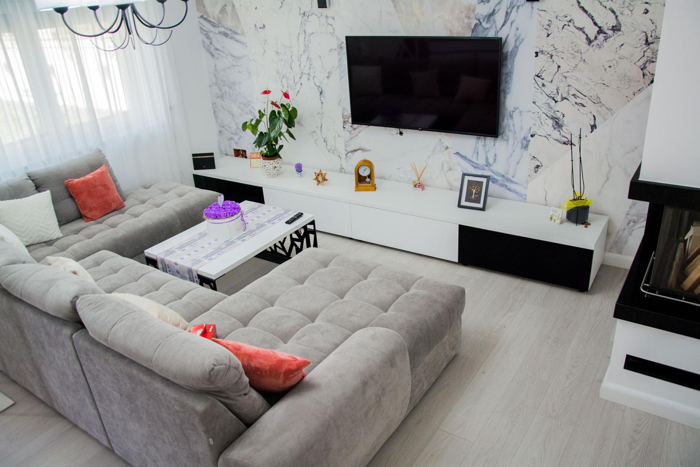 mobila living din pal alb cu front din mdf vospit 1