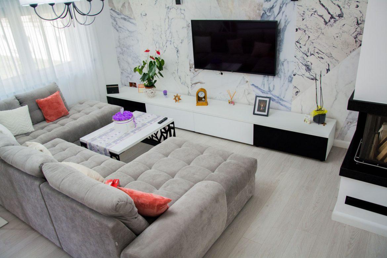 mobila living din pal alb cu front din mdf vospit