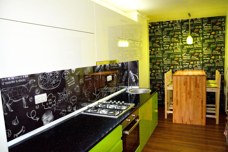 Bucătărie MDF  de Culoarea Lămâii Verzi