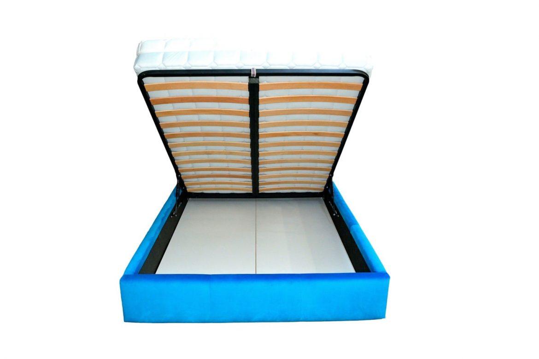 Detalii interior lada de depositare pat tapitat 140 cm cu somiera rabatabila din lemn stratificat de fag min 1