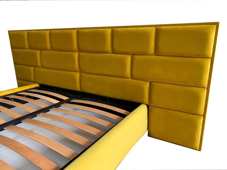 Detalii tablie de pat tapitat Tenerife cu somiera si mecanism de ridicare lada de depozitare coltare de prindere picioare plastic incluse stofa Prestige 2778 1