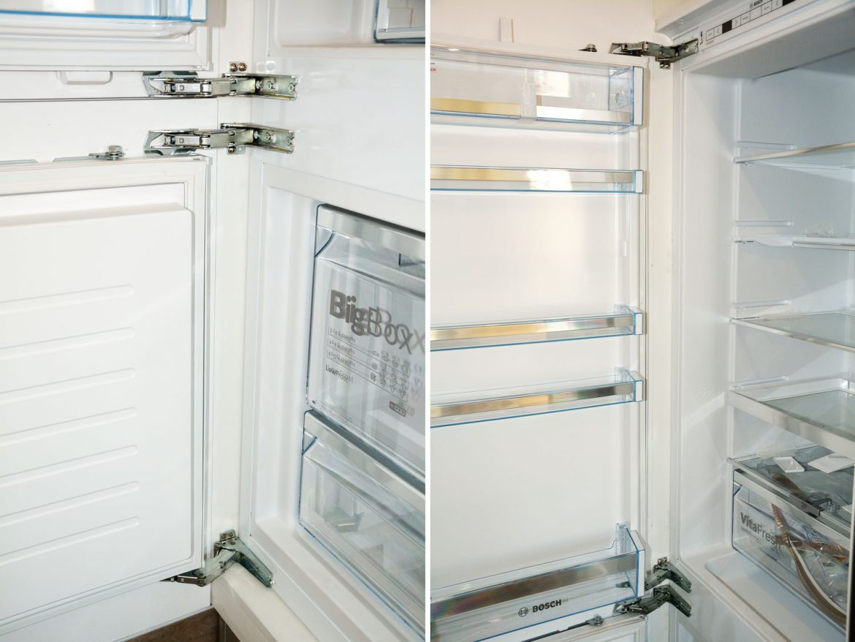 Detaliu combina frigorifica incorporabila Bosch cu balamale silentioase Blum sertare hydrofresh cu control de umiditate tehnologie lowfrost