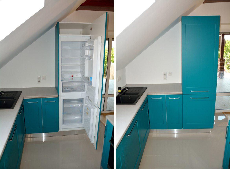 Detaliu frigider incastrabil in bucatarie moderna cu usi MDF vopsit turquoise mat RAl 5018