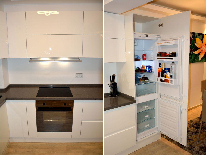 Electrocasnice incorporabile in bucatarie la comanda Yulmob cu usi din MDF vopsit frigider incorporabil