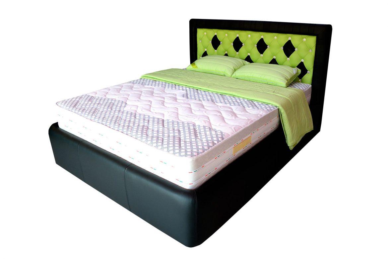 Pat matrimonial dormitor realizat la comanda Domino din Pal Hidrofugat tapitat in piele naturala bovina neagra si