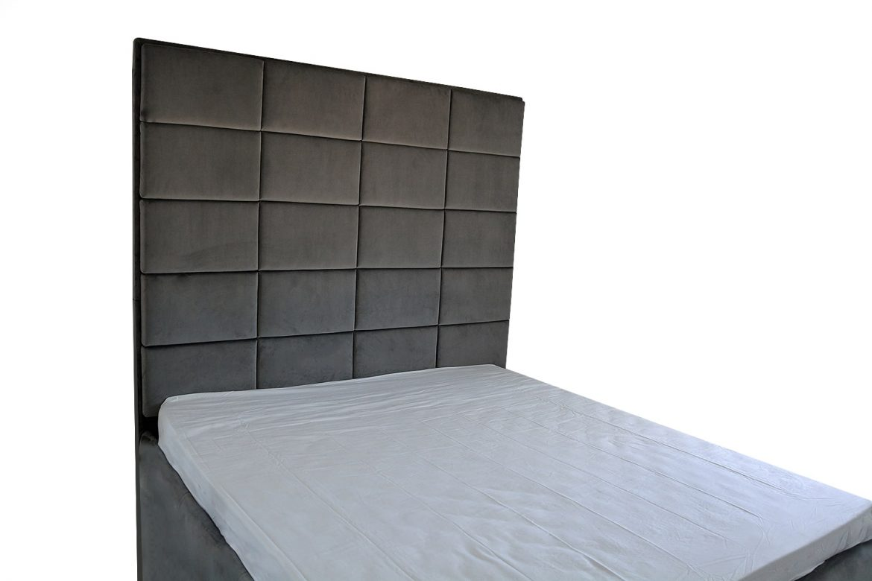 Pat tapitat modern cu tablie inalta tip placare perete tapitata in intregime in stofa French Velvet gri moale min