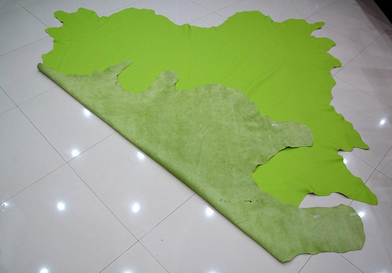 Piele naturala de Bovina de culoare Verde fata spate 2