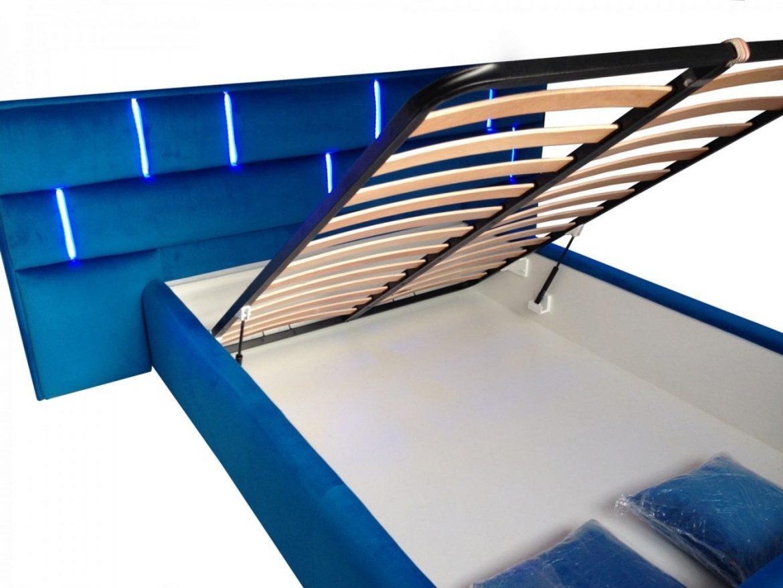 Sistem deschidere pat modern tapitat Tenerife cu lada pentru depozitat diverse min
