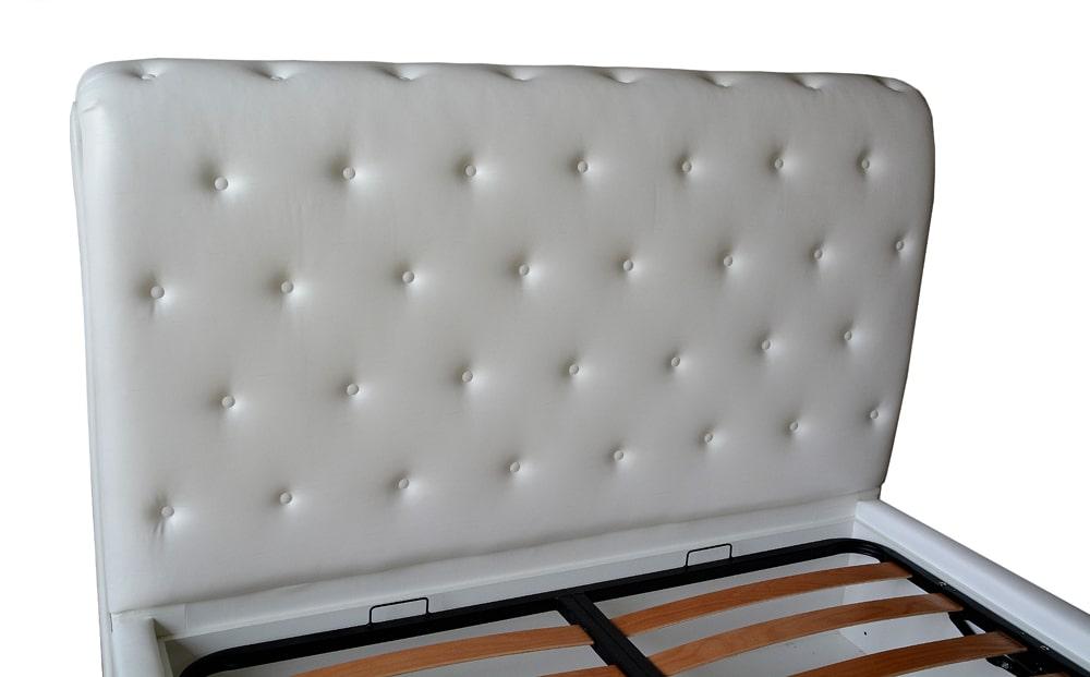 Tablie pat 160 fixa imbracata in piele ecologica alba accesorizata cu butoni imbracata cu burete curbat vedere laterala min