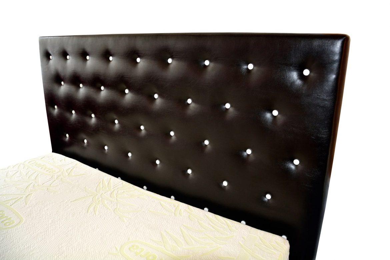 Tablie pat Alicante tapitata in piele ecologica neagra incrustata cu butoni din cristale swarovski vedere laterala min