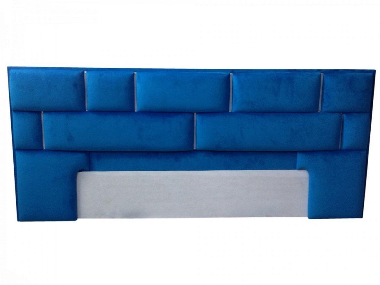 Tablie patTenerife tapitat in stofa moale French Velvet albastru indigo cu bandaled multicolora min