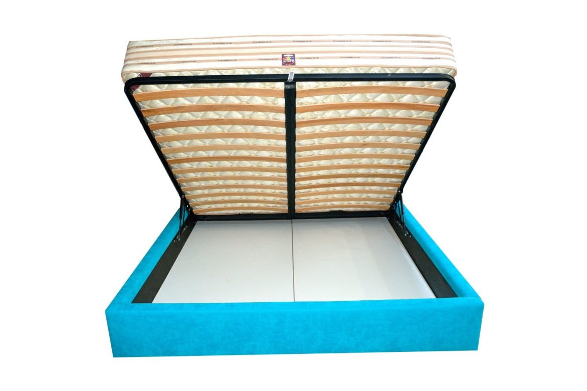Vedere cu deschidere frontala a paturilor tapitate cu lada depozitare moderne tapitate min 1
