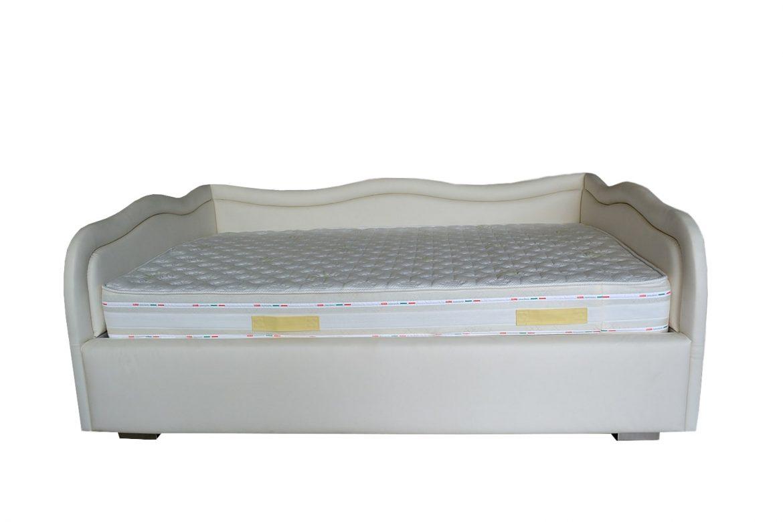 Vedere frontala pat 90 tapitat in intregime in piele ecologica crem cu lada pentru depozitat jucarii min