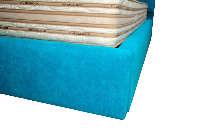Vedere imbinare rama lada a patului tapitat Vigo cu stofa lincoln turcoaze min