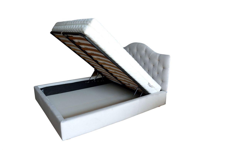 Vedere interioara pat tapitat Venetia capitonata 180 cu lada depozitare somiera rabatabila din lemn stratificat de fag picioare plastic 1
