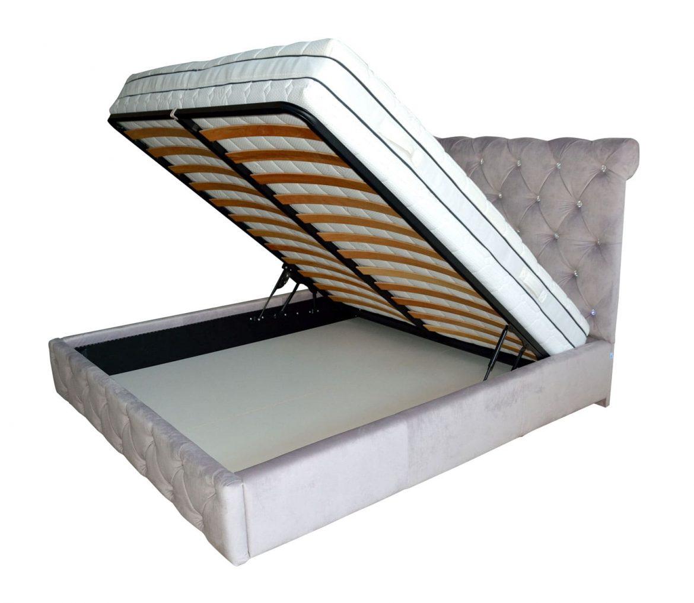 Vedere interior pat tapitat Paris capitonata cu cristale svarovski 180x200 cu lada depozitare somiera 180 rabatabila din lemn stratificat de fag picioare plastic iak.ro min