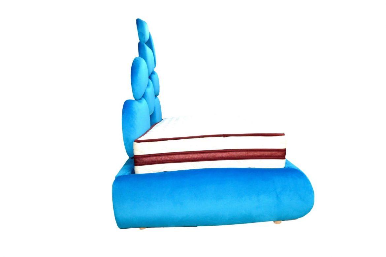Vedere laterala a patului tapitat Italia ragazzi cu modelul de rama dehusabila detasabila si lada de depositare min