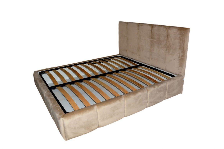 Vedere laterala a patului tapitat Nice cu somiera rabatabila si lada de depozitare cu rama patului la 45 grade min