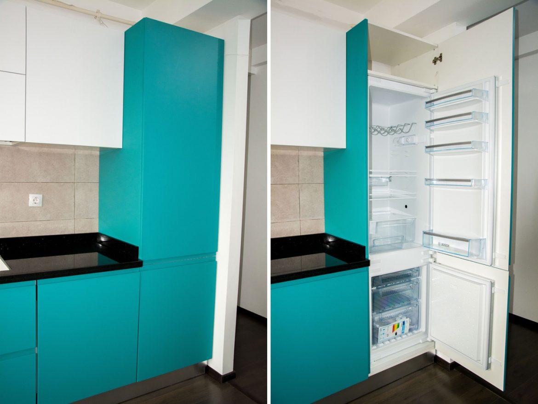 detali frigider incastrabil cu front silateral din mdf vopsit turcoaz