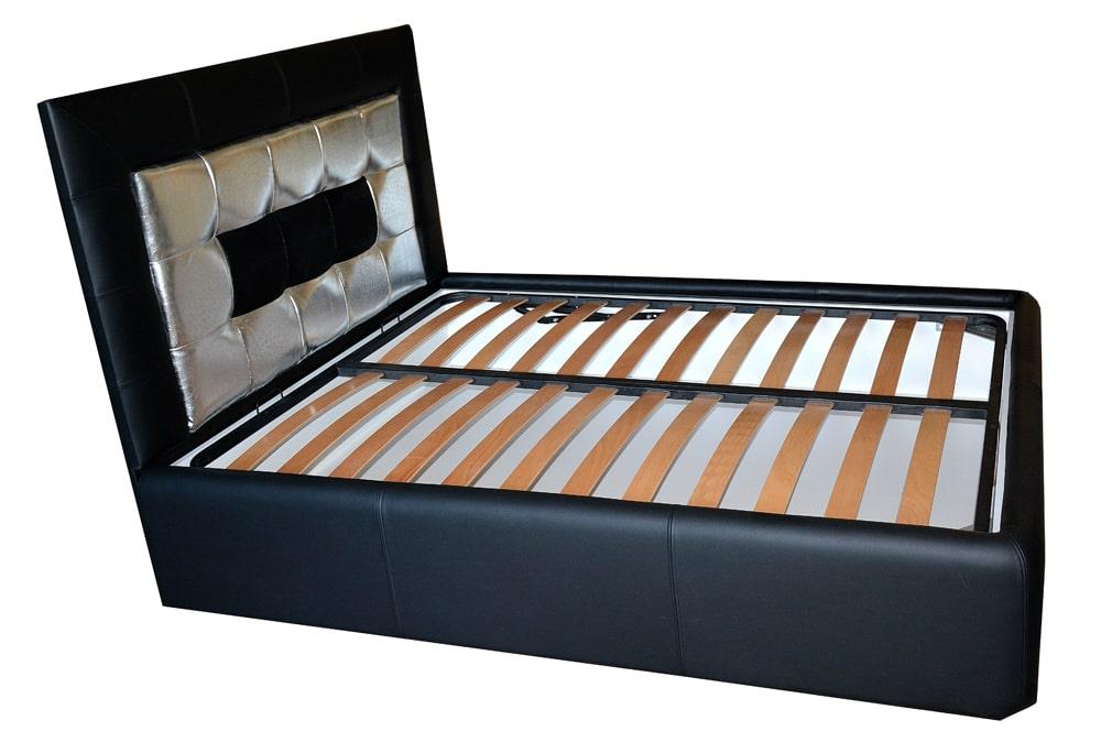pat 160 tapitat in piele naturala de bovina dispusa cu lada pentru depozitat diverse vedere laterala min 1