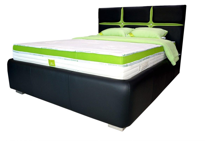 pat tapitat 160 din piele naturala cu lada pentru depozitare min