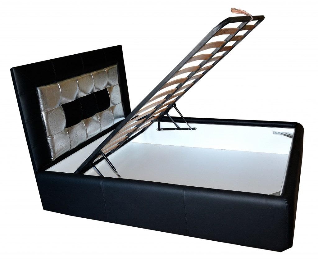 pat tapitat in piele naturala de bovina dispusa cu lada pentru depozitat diverse vedere laterala min