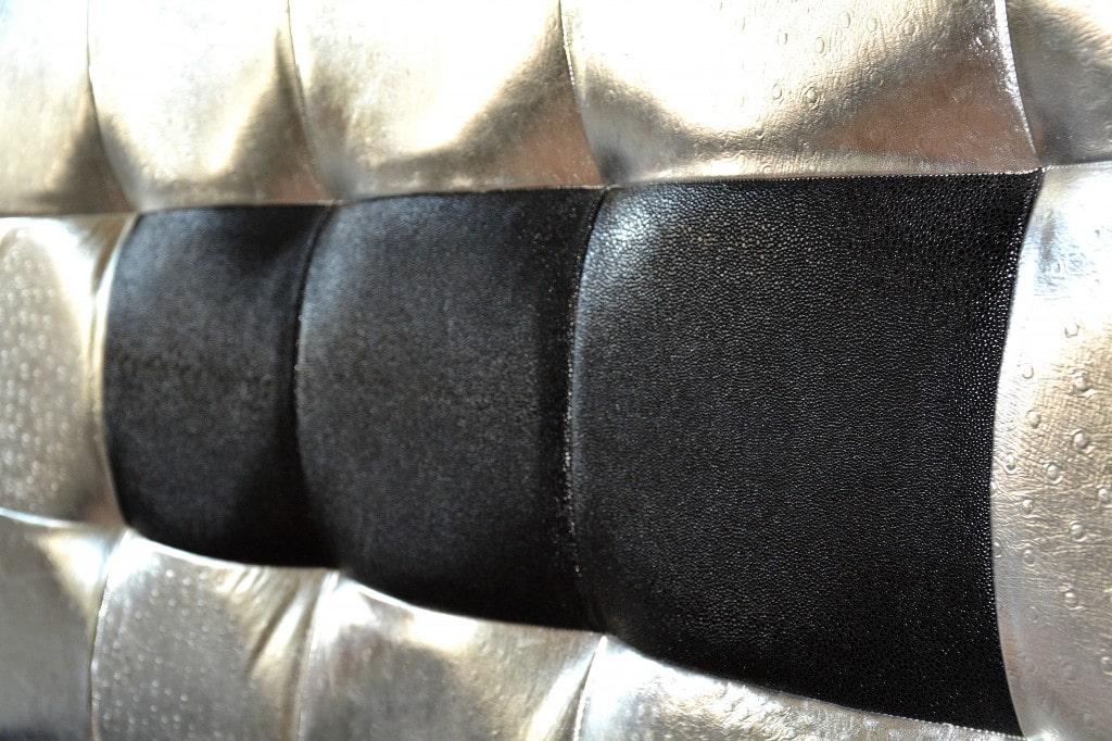 tablie de pat realizata din pal hidrofugat tapitata in piele de bovina naturala si piele imitatie strut piele pisica de mare min